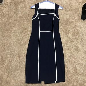 Navy and white dress-
